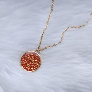 Coach Signature Medallion Charm Gold Pltd Necklace